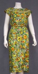 Beautiful Floral Silk 1960's Cocktail Dress Organdy Trim