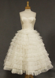 Frothy Ivory Tulle Strapless 1950's Prom Dress Wedding Dress Cotillion Original