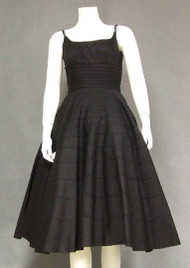 FANTASTIC Corded Black Cotton 1950's Party Sun Dress w/ Faille Trimmed Topper