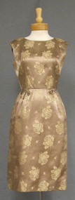 Paul Sachs Taupe & Gold Damask 1950's 1960's Cocktail Dress