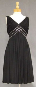 Chic Black Jersey 1960's Cocktail Dress w/ Rhinestone Trim