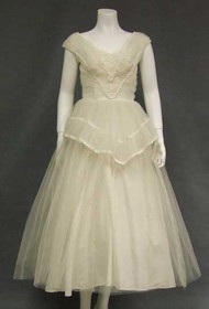 Beautiful Sylvia Ann 1950's Wedding Dress w/ Braid Trimmed Gathers