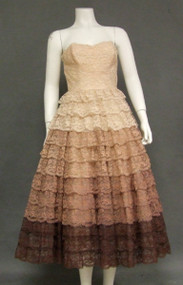 BEAUTIFUL Multi Colored Lace 1950's Prom Dress