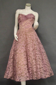 Beautiful Lavender Lace Strapless 1950's Cocktail Dress