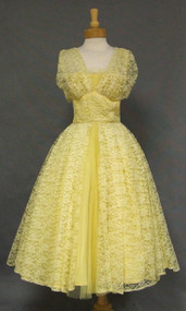 Sunny Yellow Lace & Pleated Tulle 1950's Prom Dress