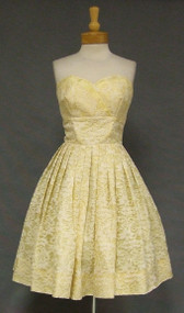 Sweet Strapless Yellow Lace 1960's Cocktail Dress