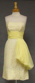 Lemon Meringue Strapless Bombshell Vintage Cocktail Dress