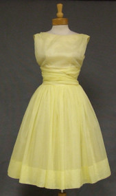 Lovely Daffodil Nylon Chiffon 1960's Cocktail Dress