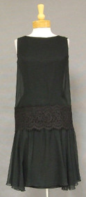 1920's Style 1960's Black Chiffon Cocktail Dress