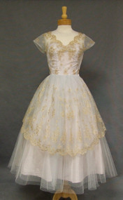 Exquisite Pale Blue Tulle 1950's Cocktail Dress w/ Gold Embroidery