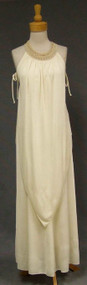 Flowing 1970's Ivory Jersey Evening Gown w/ Crocheted Collar