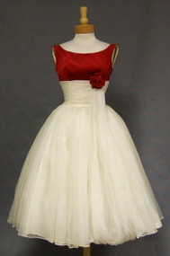Ivory Chiffon & Crimson Velveteen 1950's Cocktail Dress w/ Balloon Hemmed Sash