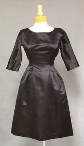 Elegant Mollie Parnis Black Silk Satin 1960's Cocktail Dress