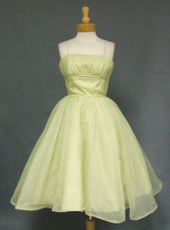 Pale Green Organdy 1960's Prom Dress w/ FABULOUS Gathered Back