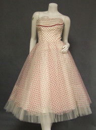 Fabulous Red & White Polka Dotted Tulle Strapless 1950's Prom Dress