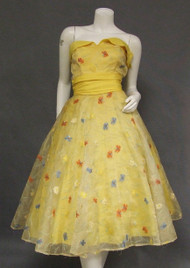AWESOME Sunny Yellow Strapless 1950's Prom Dress w/ Floral Embroidery