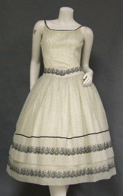 Lovely Dotted Ivory Chiffon Vintage Cocktail Dress w/ Black Flocking