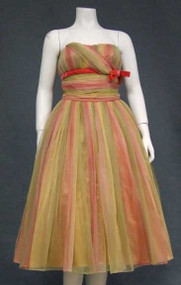 STUNNING Ombre Chiffon Strapless 1950's Party Dress