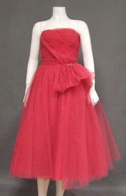 Frank Starr Cerise Tulle Strapless 1950's Prom Dress w/ Flounce