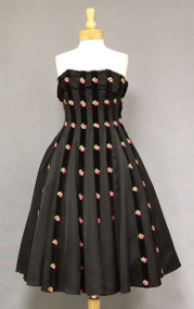 Stunning Black Satin 1950's Cocktail Dress w/ Velvet Stripes & Floral Appliques