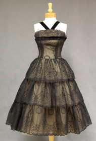 Extraordinary Flocked Nylon 1950's Cocktail Dress w/ Tiered Skirt