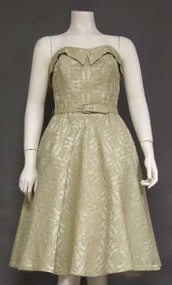 FANTASTIC Beige Brocade 1950's Cocktail Dress & Jacket