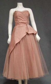 Lovely Rose Taffeta & Tulle 1950's Prom Dress