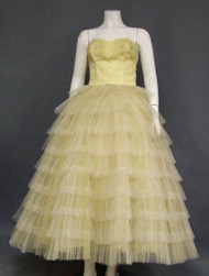 Yellow & Ivory Tulle 1950's Prom Dress w/ Embedded Sequins