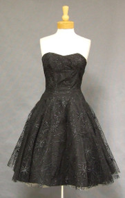 Flocked Black Tulle Lilli Diamond 1950's Cocktail Dress