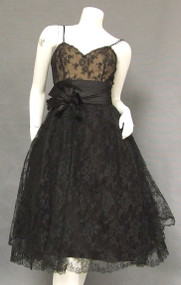 Gorgeous Harvey Berin Black Lace & Satin Vintage Cocktail Dress