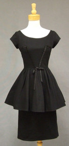 Bombshell Black Pique Vintage Peplum Cocktail Dress w/ Satin Bands