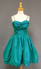Green Taffeta 1950's Cocktail Dress w/ Rhinestone Straps