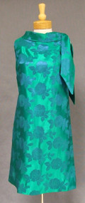 Chic Blue & Green Damask 1960's Cocktail Dress