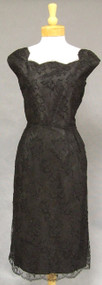 Elegant Beaded Black Lace 1950's Cocktail Dress
