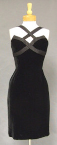 Oleg Cassini Black Velvet 1960's Cocktail Dress