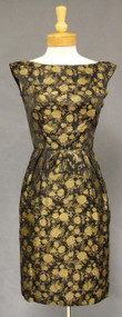 Black & Gold Floral 1960's Cocktail Dress