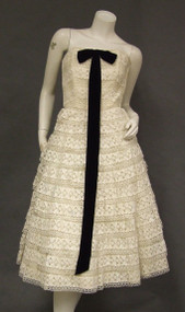 Crocheted Lace Saks Fifth Avenue Strapless 1950's Cocktail Dress