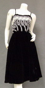 Plush Black Velvet 1960's Cocktail Dress w/ Ivory Embroidery