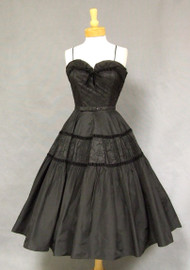 STUNNING Embroidered Black Taffeta 1950's Sweetheart Dress w/ Velvet