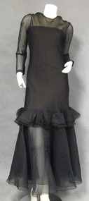FABULOUS 1970's Mollie Parnis Black Silk Mermaid Evening Gown