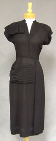 1940's Mademoiselle Juliette Black Crepe Dress