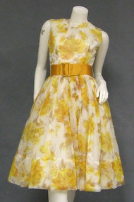 Floating Autumn Hued Floral Chiffon 1960's Cocktail Dress w/ Belt