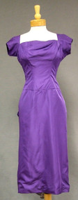 Eggplant Taffeta 1950's Cocktail Dress w/ Train
