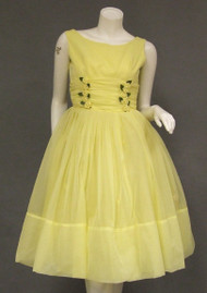 Sunny Yellow Chiffon 1960's Dress w/ Rosettes & Matching Jacket