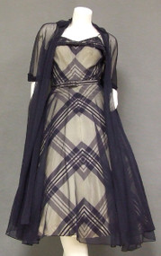AMAZING Plaid Taffeta & Navy Marquisette 1950's Cocktail Dress w/ Long Jacket