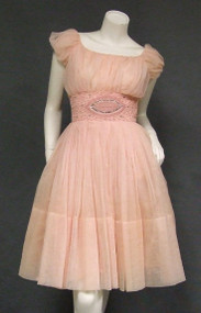 Gathered Pink Chiffon 1960's Party Dress w/ Braid & Rhinestone Trimmed Waist