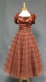 Emma Domb Copper Satin & Tulle 1950's Dress w/ Bolero 37