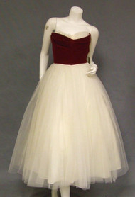 UNWORN Crimson Velveteen & Ivory Tulle 1950's Prom Dress