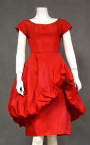 Red Taffeta 1960's Cocktail Dress w/ Asymmetrical Balloon Overskirt