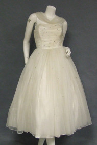 Gathered Ivory Chiffon Strapless Dress w/ Attached Drape & Train